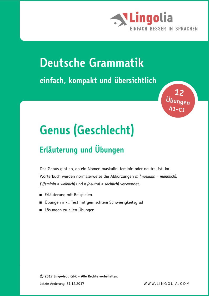 Genus Geschlecht Nomen Artikel Deutsch Lingolia Shop