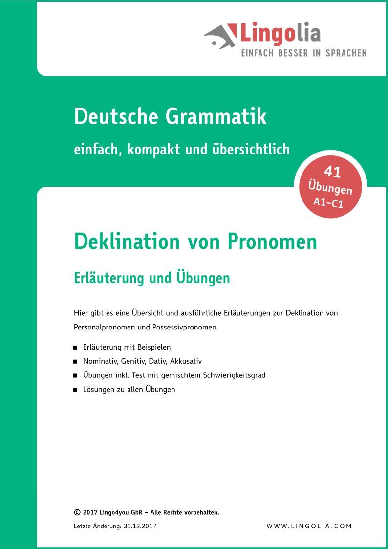 Deklination von Pronomen - Pronomen Deutsch 20ebb17c1f7