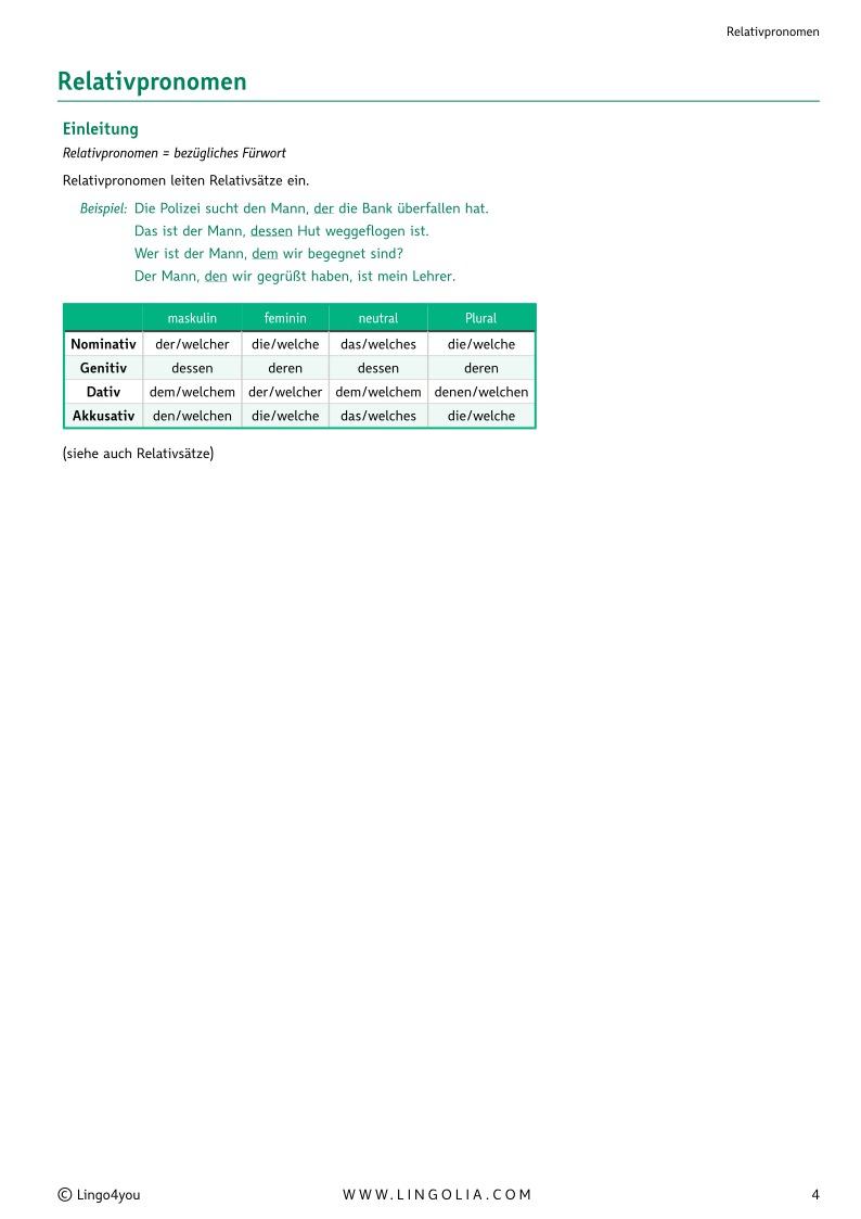 relativpronomen - Relativpronomen Beispiele