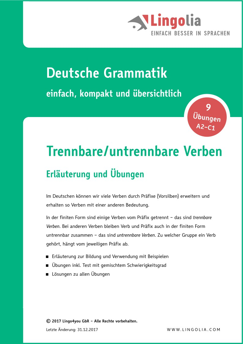 Trennbare/untrennbare Verben - Verben Deutsch - Lingolia Shop