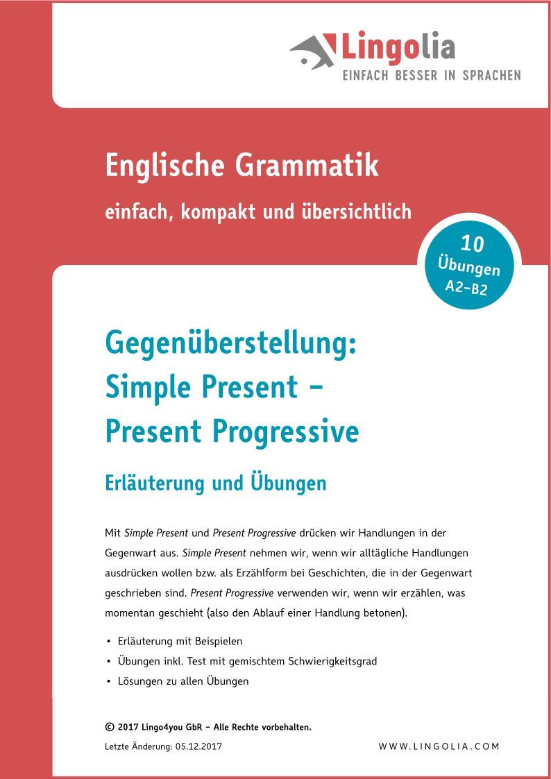 Gegenüberstellung: Simple Present – Present Progressive ...