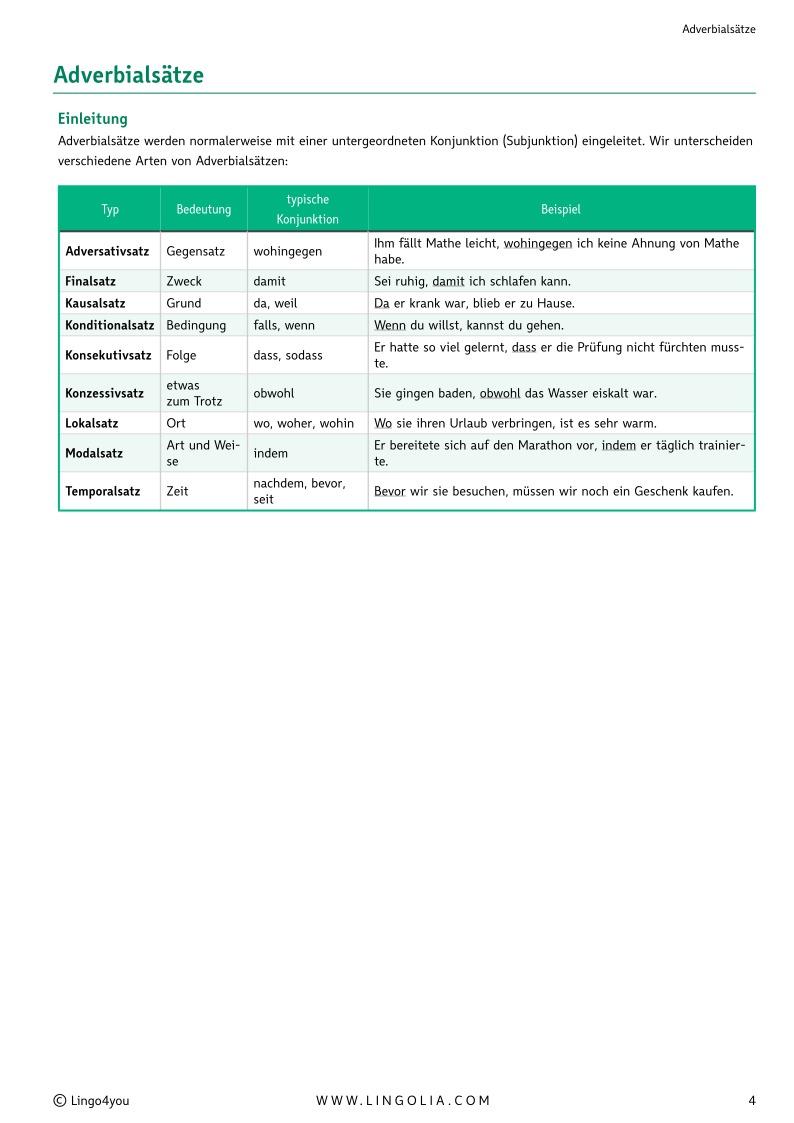 adverbialstze - Adverbialsatze Beispiele