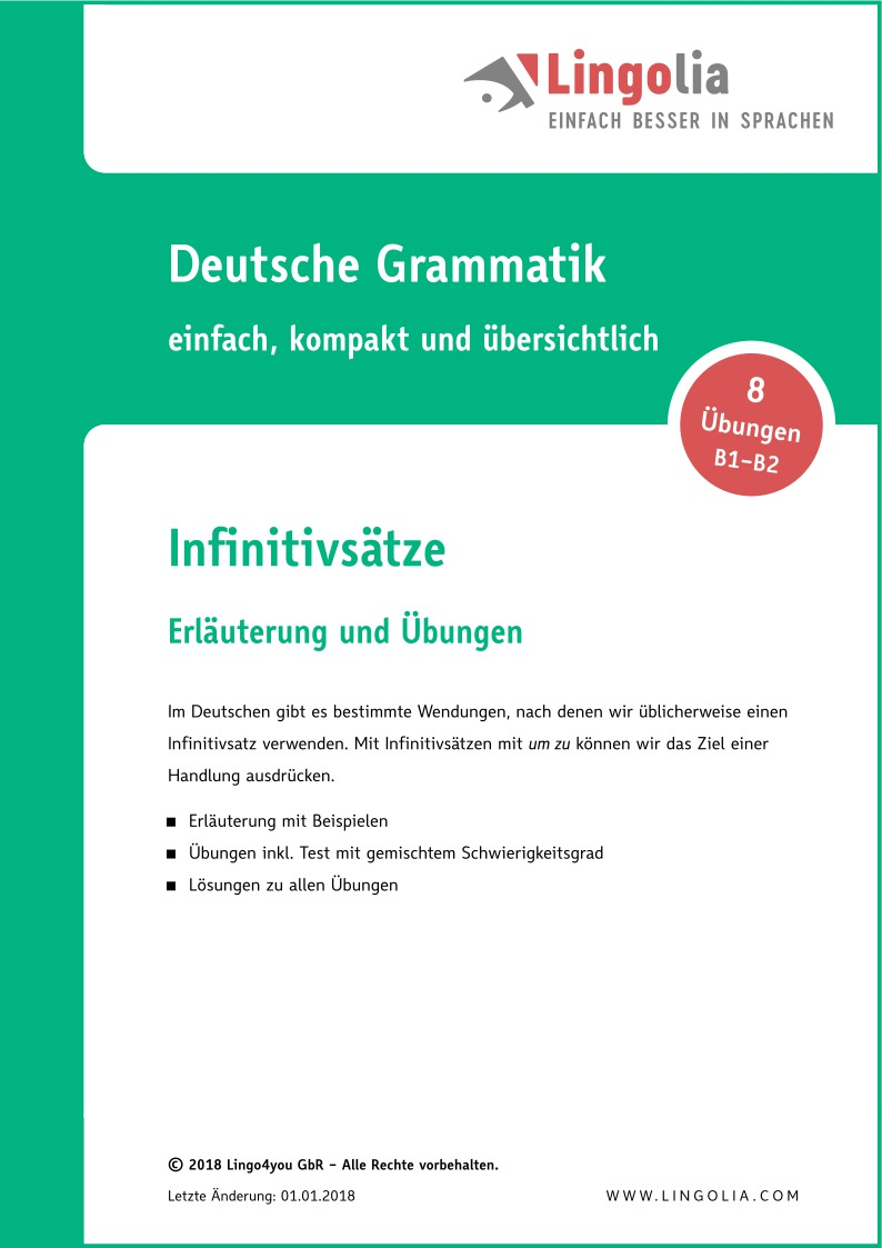 infinitivstze - Infinitivsatze Beispiele