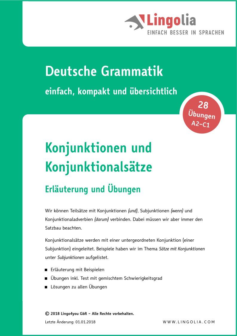 konjunktionen und konjunktionalstze - Adverbialsatze Beispiele