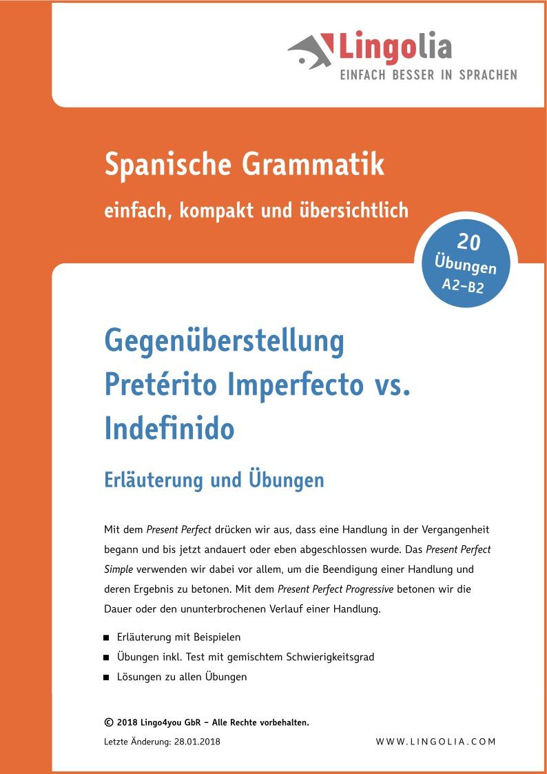Gegenüberstellung: Pretérito Imperfecto vs. Indefinido - Zeiten ...