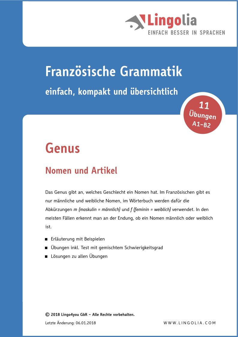 Genus - Nomen & Artikel Französisch - Lingolia Shop