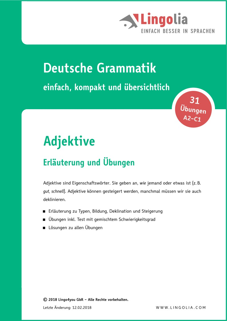 Adjektive - Adjektive & Adverbien Deutsch, Deklination Deutsch ...
