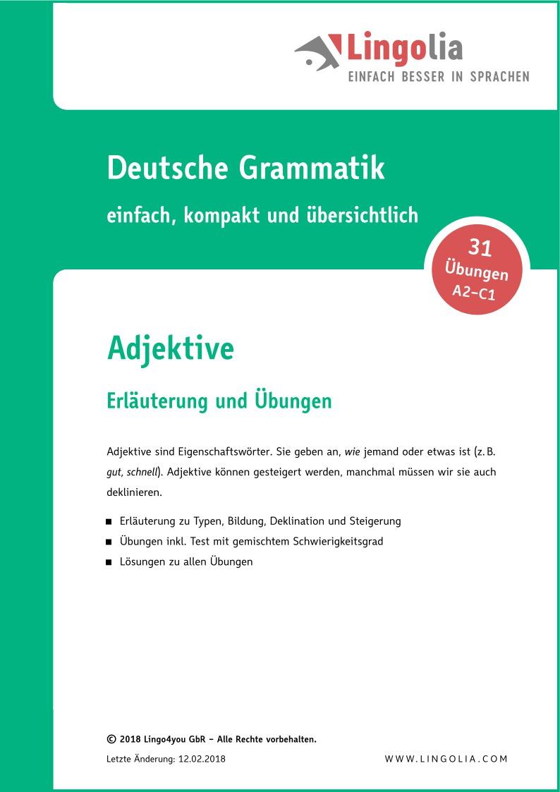 Adjektive Adjektive Adverbien Deutsch Deklination Deutsch