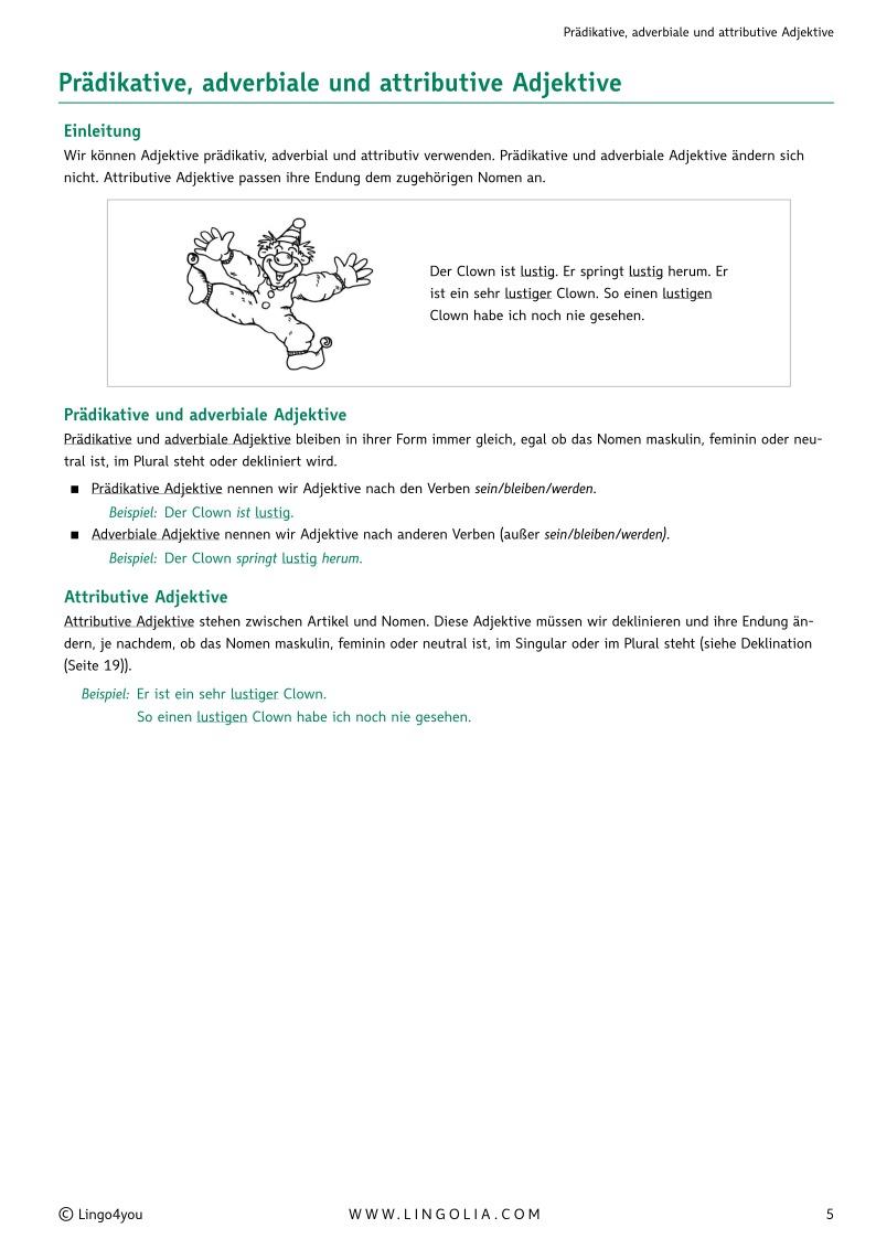 Adjektive - Adjektive & Adverbien Deutsch, Deklination Deutsch ...