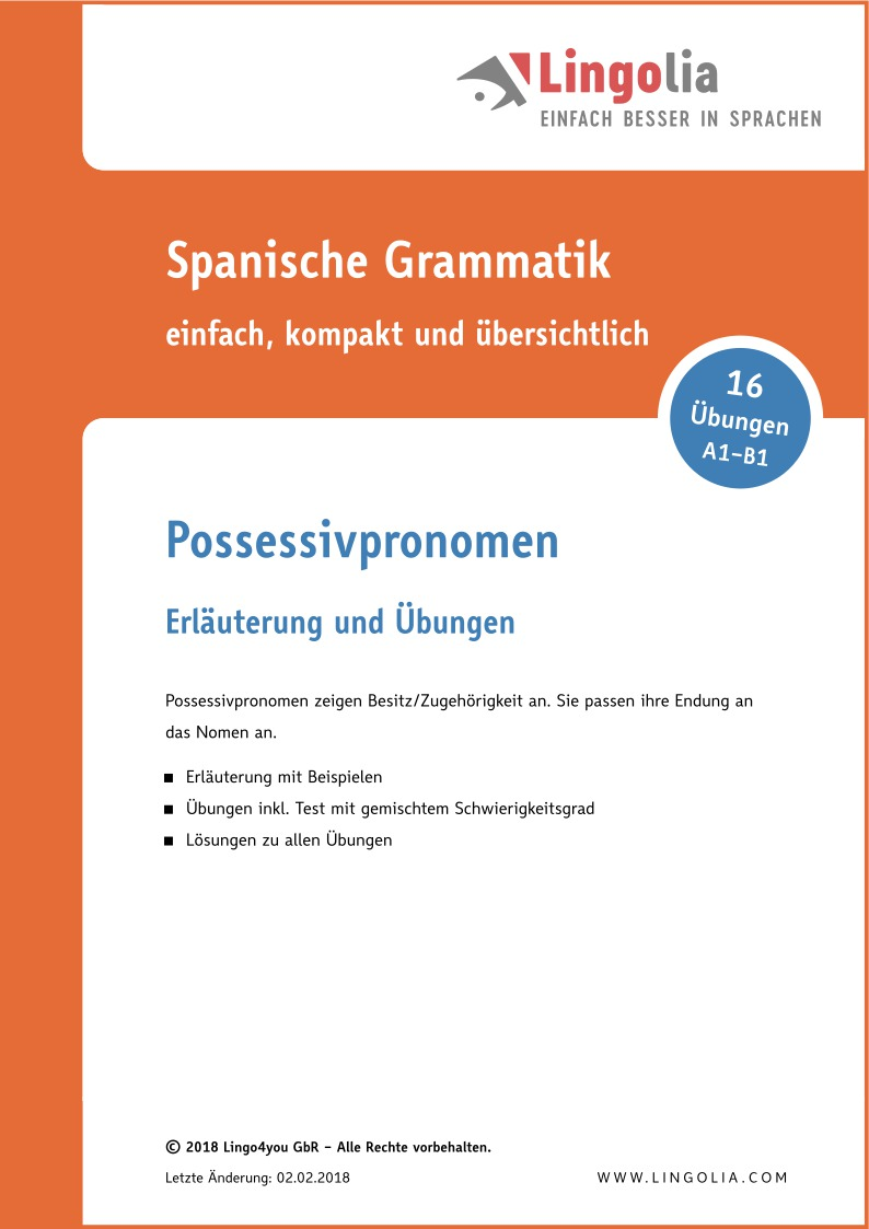 Possessivpronomen - Pronomen Spanisch - Lingolia Shop