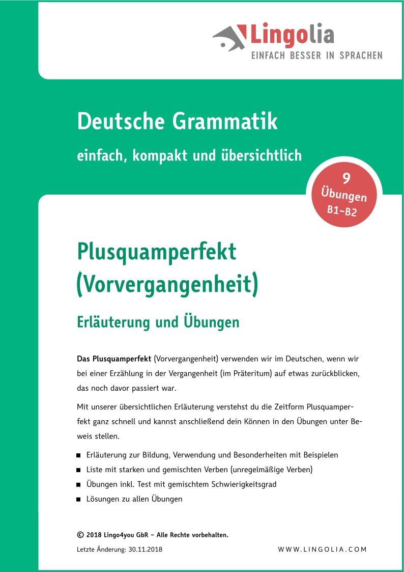plusquamperfekt vorvergangenheit zeitformen deutsch